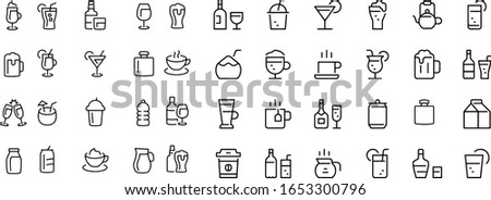 Drinks vector design icons black and white outline
