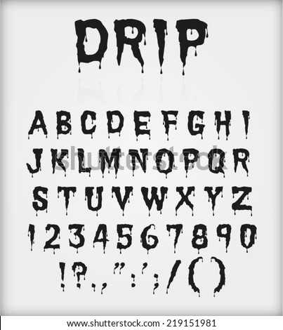drip blood ink font character