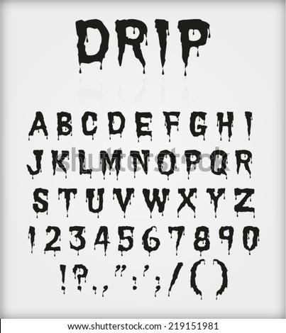 drip blood ink font character alphabet