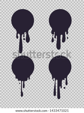 Dripping black circles. Inked round liquid shapes with paint drips for milk or chocolate logo vector set isolated on white background