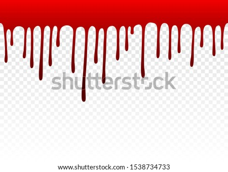 Dripping blood. Dripping liquid. Paint dripping. Paint flows. Current paint, stains. Current drops. Seamless pattern. Current inks. Vector illustration. Color easy to edit. Transparent background.