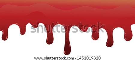 Dripping blood. Halloween red bleed stain, bleeding bloody drips, Realistic vector illustration
