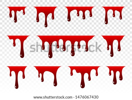 Dripping blood. Paint dripping. Dripping liquid. Paint flows. Current paint, stains. Current drops. Current inks. Vector illustration. Color easy to edit. Transparent background.