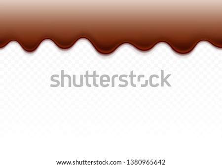 Dripping chocolate. Dripping Paint. Dripping liquid. Сhocolate flows. Current paint, stains. Current drops. Seamless dripping chocolate isolated on white background. Vector illustration.