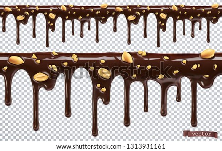 Dripping chocolate with peanut nuts. Melt drip. 3d realistic vector, seamless pattern