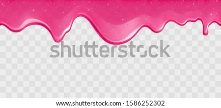 Dripping glossy pink slime with glitter isolated on transparent background. Border of shiny flowing sticky sweet goo. Vector template of cream, jelly or caramel glaze for cake or donut.