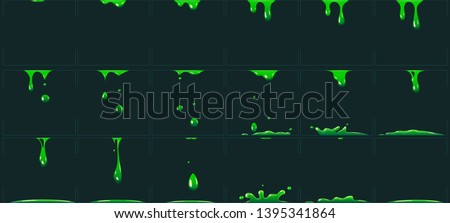 Dripping green slime animation. Cartoon animated toxic waste liquid. Acid or poison drip drop fx sprite vector illustration