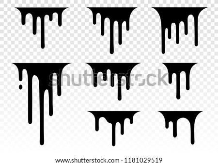 Dripping liquid. Paint dripping. Paint flows. Current paint, stains. Current drops. Current inks. Vector illustration. Color easy to edit. Transparent background.