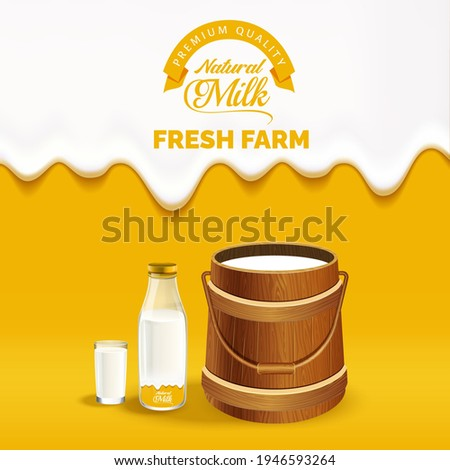 dripping milk on a orange gradient with dairy products, Fresh Farm milk poster Template. Modern Typography,with Milk logo