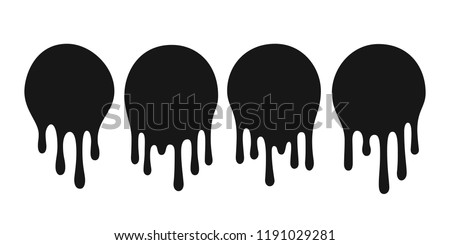 Dripping oil blob. Drip drop paint or sauce stain drips. Black drippings sauces current round spots, ink paint leak or liquid chocolate vector isolated icons set