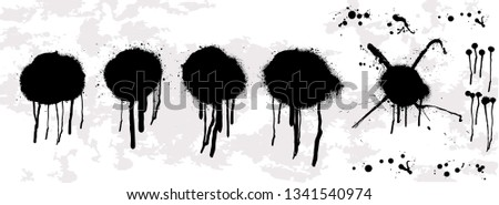 Dripping oil blob. Spray graffiti stencil template. Isolated collection.Drip drop paint or sauce stain drips. Black drippings sauces current round spots, ink paint leak or liquid chocolate vector set