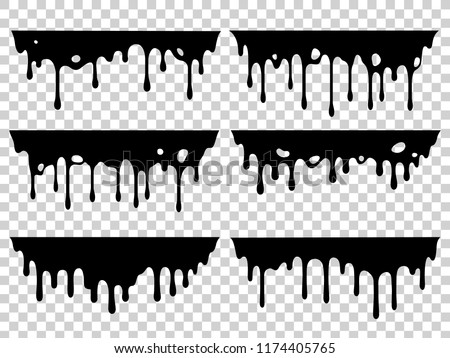 Dripping oil stain. Liquid ink, paint drip and drop of drippings stains watercolor splash, blood or sauce spray. Black drips resin inked drops isolated vector symbols silhouette set
