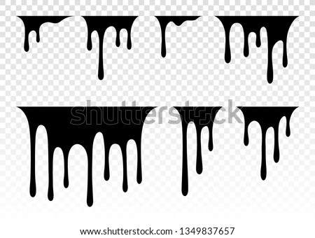 Dripping Paint Set. Dripping liquid. Paint flows. Current paint, stains. Current drops.  Vector illustration. Color easy to edit. Transparent background.