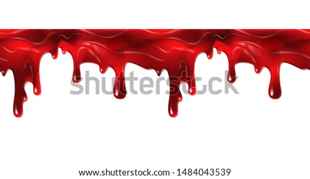 Dripping seamless blood. Flow liquid, drip wet. Thick red ketchup or jam flow down Halloween concept: Blood dripping - Seamless Vector white background