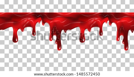 Dripping seamless blood. Flow liquid, drip wet. Thick red ketchup or jam flow down Halloween concept: Blood dripping - Seamless Vector on transparent background