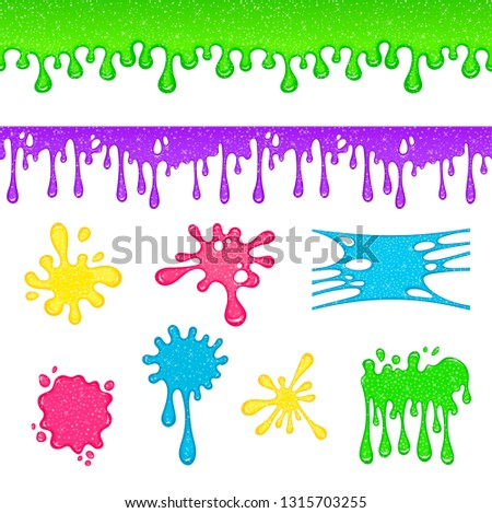 Dripping slime. Colorful dirt splat, goo dripping splodges of slime. Mucus isolated vector set Illustration of splatter and dribble, spots and drops, slime and blob.