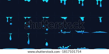 Dripping water animation, water splashes for game development. Dropping liquid in frames for cartoon. Blue fluid droplets, falling clear aqua elements forming puddles collection vector illustration Foto stock ©