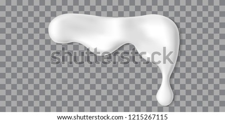 Dripping white cream or yoghurt icing drops. Vector paint stain or yogurt splash illustration for background design. Realistic milk horizontal border. Mayonnaise repeatable blobs