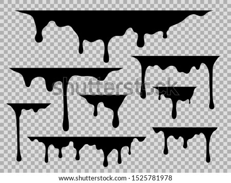 Drips. Dripping liquid black paint, current drops stains graffiti silhouette fluid trickles, drip melt flows oil, vector syrup leak cream border illustration