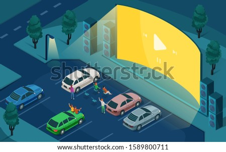 Drive cinema, car open air movie theater, vector isometric design. People in cars at night parking, watching outdoor drive cinema on blank empty screen with sound speakers