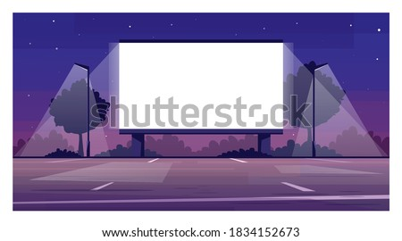 Drive in cinema screen semi flat vector illustration. Empty parking for film premiere outside. Public urban place. Weekend entertainment. Outdoors movie night 2D cartoon scene for commercial use