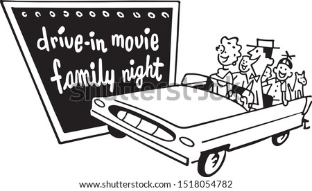 Drive-In Movie Family Night - Retro Clipart Illustration