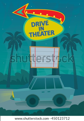 drive in poster   a night scene