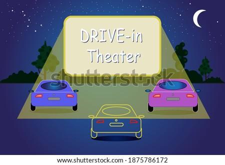 drive in theatre vector flat
