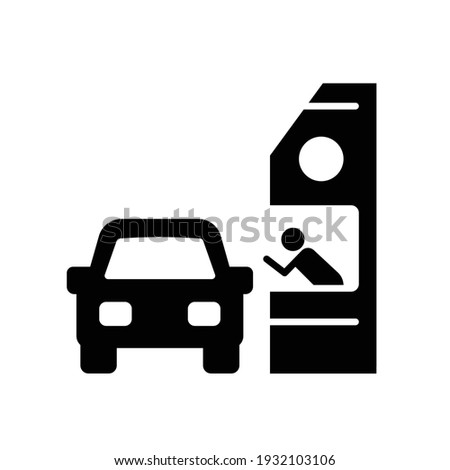 Drive through glyph icon. Simple solid style symbol can be used for web, mobile, ui design. Thru, window, car, restaurant, shop concept. Vector illustration isolated on white background. EPS 10. Foto stock ©