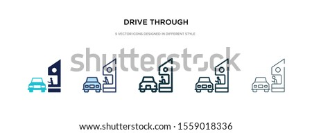 drive through icon in different style vector illustration. two colored and black drive through vector icons designed in filled, outline, line and stroke style can be used for web, mobile, ui