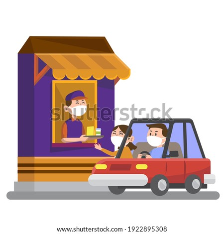 Drive thru fast food restaurant. Employee worker serving customer or driver. Person in uniform sells fastfood. Man take a completed order in a takeaway store. Vector illustration. Stock foto ©