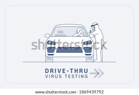 Drive thru virus testing illustration: Medical worker in full protective suit takes sample from driver at coronavirus COVID-19 drive through screening station. editable stroke vector illustration