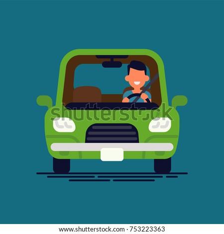 driver behind the wheel man