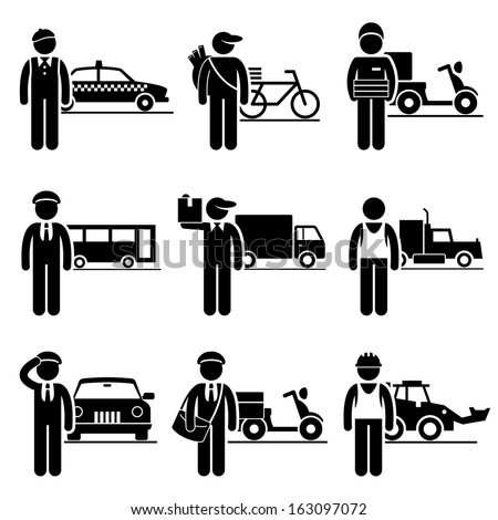 Driver Delivery Jobs Occupations Careers Taxi Newspaper Pizza Bus Mover Truck Chauffeur Postman Construction Vehicle Stick Figure Pictogram