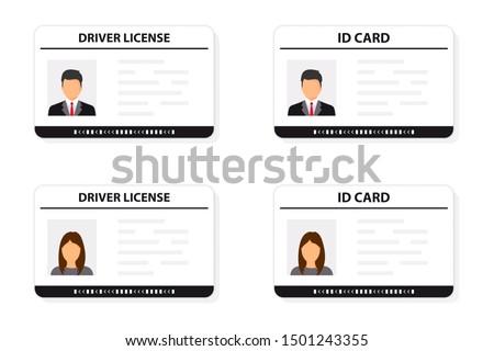 Driver license. ID card. Identification card icon. Man and woman driver license and ID cards card template. Icon driver's license. Driver license, identity verification, person data.  Stock fotó ©