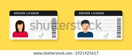 Driver license. ID card. Identity card with a photograph of a man and a woman. Icon driver's license. Driver license id with photo avatar icon. Vector illustration. EPS 10 Stock fotó ©
