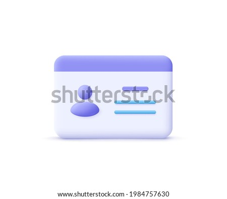 Driver license, id card, plastic card, badge icon. 3d vector illustration.