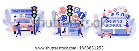 Driver license. Tiny people studying in driving school and passing exams. Traffic rules. Road signs. Education and drive lesson. Modern flat cartoon style. Vector illustration on white background Photo stock ©