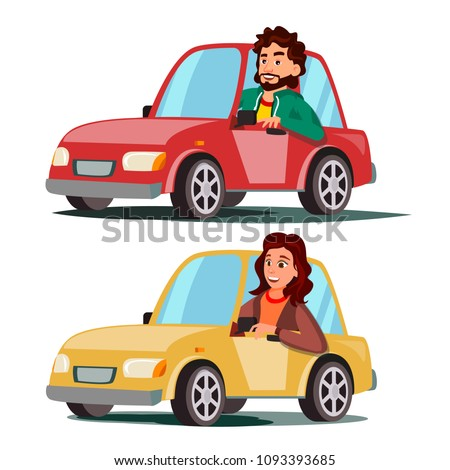 Driver People Vector. Man, Woman Sitting In Modern Automobile. Buy A New Car. Driving School Concept. Happy Female, Male Motorist. Isolated Flat Cartoon Character Illustration Foto d'archivio ©