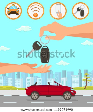 Driver Services in City. Professional in driving Car. Car Driver Service, Red Convertible and Cityscape. Parking Attendant Concept. Hand passes Auto Keys. Vector Flat Cartoon Illustration.