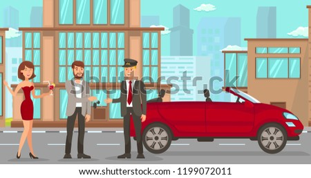 Driver Services in City. Professional in driving Car. Car Driver Service, Red Convertible and Cityscape. Parking Attendant Concept. Man, Woman, and Valet on Street. Vector Flat Cartoon Illustration.