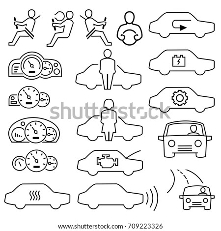 Driver with safety outline icons vector.