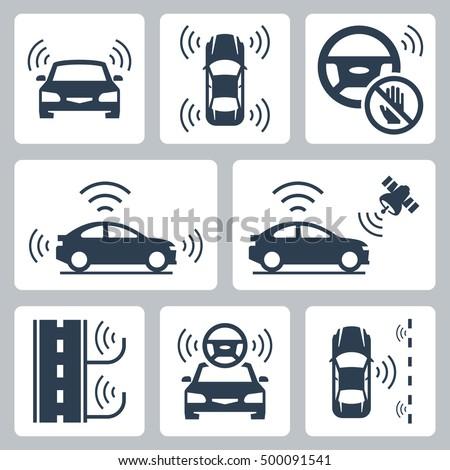 Driverless autonomous robotic car vector icon set