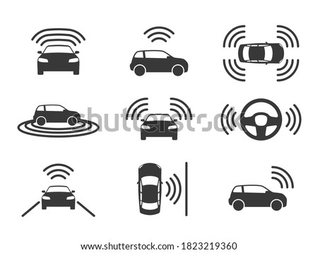 Driverless car icons. Autonomous driving cars, gps navigation on road. Smart self-driving vehicles, electric robotic auto, parking sensor sign driverless transport black silhouette vector isolated set