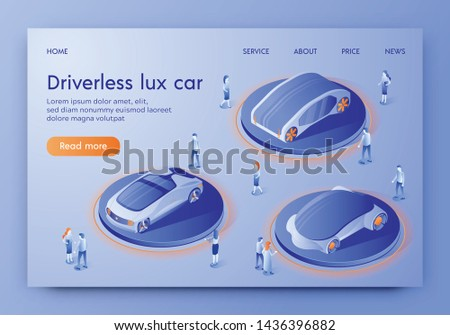 Driverless Lux Car Banner, People Visiting Show Room Exhibition with Unmanned Auto Transport. Autonomous Luxurious Vehicles with Artificial Intelligence Control Expo. Isometric 3d Vector Illustration