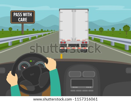 Driving a car. Hands holding a steering wheel. Driver overtaking a truck trailer on highway. Flat vector illustration.