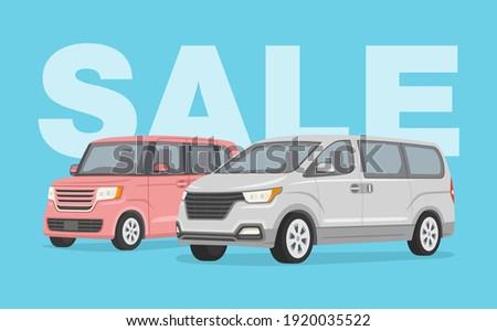 Driving a car. Sale poster design template with japanese kei car and korean van car. Flat vector illustration. Stockfoto ©
