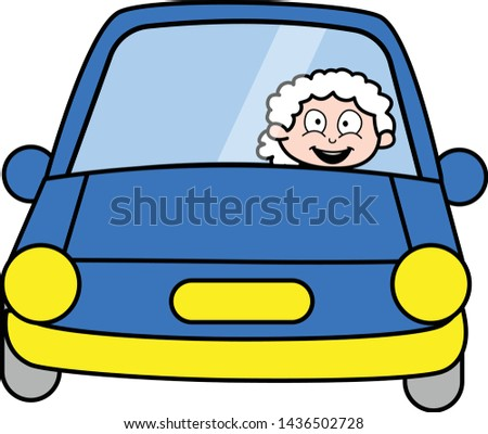 Driving Car - Old Woman Cartoon Granny Vector Illustration