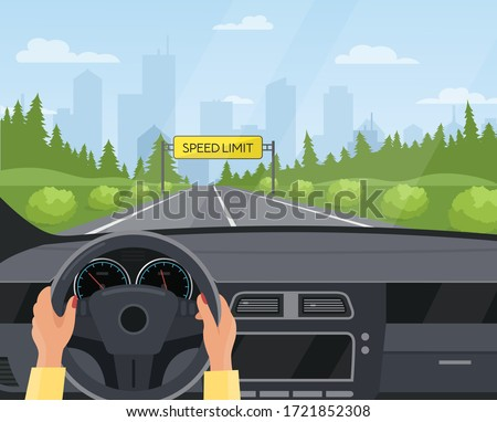 Driving car safety concept vector illustration. Cartoon flat human driver hands drive automobile on asphalt road with speed limit, safe sign on highway. Dashboard inside car interior view background