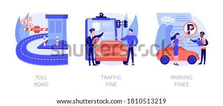 Driving rules violation abstract concept vector illustration set. Toll road, traffic and parking fine, tollway fee, speeding ticket, no parking zone, penalty notice, pass card abstract metaphor.